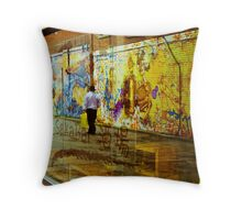 Graffiti in all it's refective glory Throw Pillow