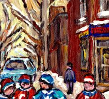HOCKEY PAINTINGS OF POINTE ST.CHARLES MONTREAL CITY WINTER SCENES Sticker