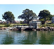 Pier and Boathouse on Narragansett Bay, Rhode Island Photographic Print