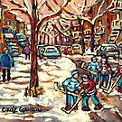 WINTER STREETS OF THE CITY OF MONTREAL HOCKEY ART PAINTING by Carole  Spandau