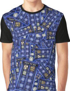 British Blue Phone box Pattern Graphic T-Shirt