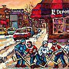 MONTREAL HOCKEY PRACTICE VERDUN WINTER STREETS CANADIAN ART by Carole  Spandau