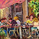 SIDEWALK CAFE RUE ST.DENIS BISTRO TERRACE ORIGINAL MONTREAL ART by Carole  Spandau