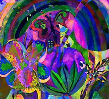 Oil Spill Floral by Sarah -jane Pearce