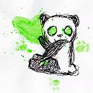 Panda Painting - Green by shandab3ar
