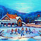 CANADIAN LANDSCAPE WITH POND HOCKEY ORIGINAL ART by Carole  Spandau