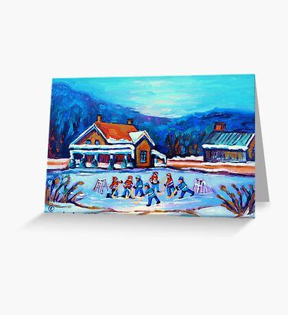 CANADIAN LANDSCAPE WITH POND HOCKEY ORIGINAL ART Greeting Card