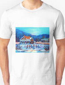 CANADIAN LANDSCAPE WITH POND HOCKEY ORIGINAL ART T-Shirt