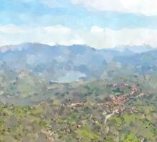 Cilento landscape from castle of Rocca Cilento Sticker