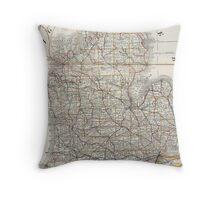 Vintage Map of Michigan (1901) 3 Throw Pillow