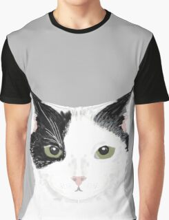 Manny - Black and white cute cat gift cat person cat lady funny cat meme pet portraits customizable  Graphic T-Shirt
