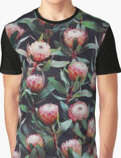 Evening Proteas - Pink on Charcoal Graphic T-Shirt