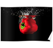 Red Pepper Splash Into Water Poster