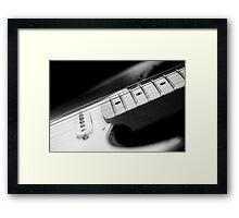 Black and White Fender Electric Guitar Wall Art Framed Print