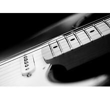 Black and White Fender Electric Guitar Wall Art Photographic Print