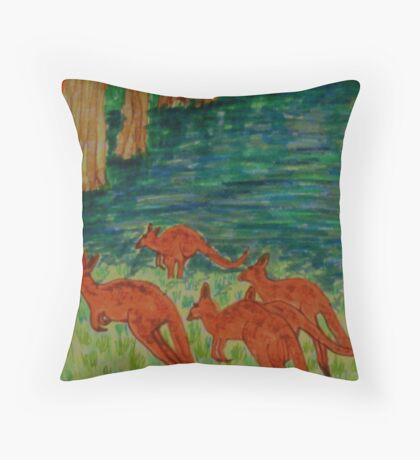 Kangaroos by the Flooded Forest Throw Pillow