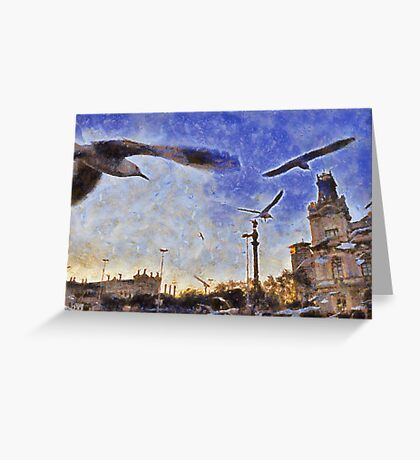 Birds, Barcelona port, Spain Greeting Card