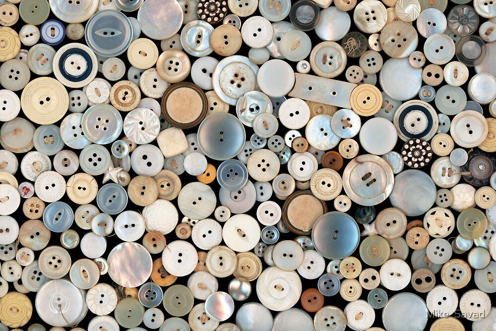 Sewing - Buttons - Lots of white buttons by Mike  Savad