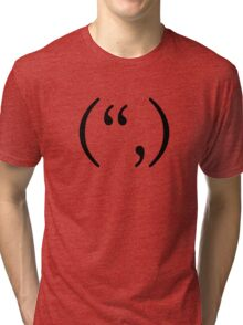 "Happy text smiley ("",) Tri-blend T-Shirt"