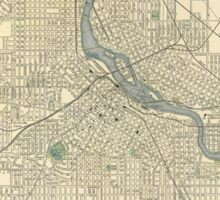 Vintage Map of Minneapolis MN (1891) Sticker