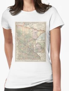 Vintage Map of Minnesota (1891) Womens Fitted T-Shirt
