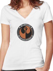 Star Wars Episode VII - Black Squadron (Resistance) - Star Wars Veteran Series Women's Fitted V-Neck T-Shirt