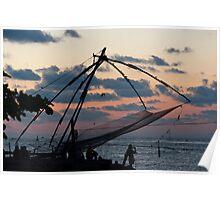 Chinese fishing net at Kochi, India, at dusk. Poster