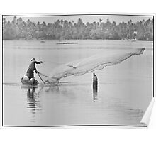 Fisherman on the backwaters of Kerala, India Poster