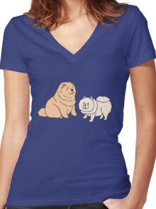 Chow Chow Dog Couple Women's Fitted V-Neck T-Shirt
