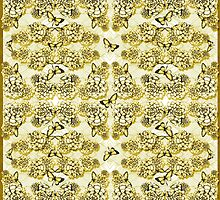 Succulent Motif and Butterfly #  Yellow Ochre by PAPERPLAN