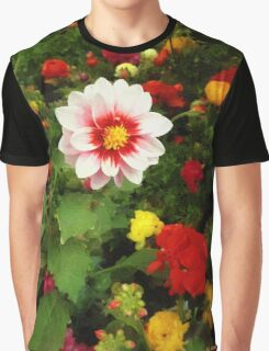 Spring Patchwork Graphic T-Shirt