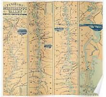 Vintage Map of The Mississippi River (1863) Poster
