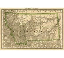 Vintage Map of Montana (1881) Photographic Print
