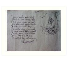 poems, in my memory Art Print