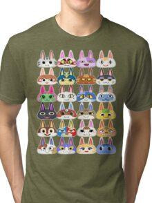 Animal Crossing Cat Villager Heads Tri-blend T-Shirt