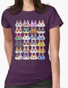 Animal Crossing Cat Villager Heads Womens Fitted T-Shirt