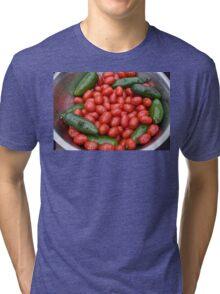 Colorful Tomato Pepper Bowl Tri-blend T-Shirt