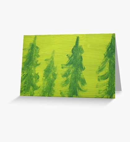 Impression Green Land Pine Trees Greeting Card
