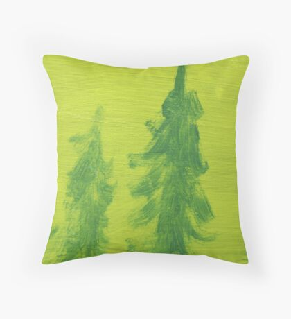 Impression Green Land Pine Trees Throw Pillow