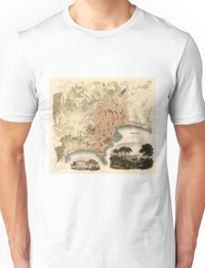 Vintage Map of Naples Italy (1835) Unisex T-Shirt