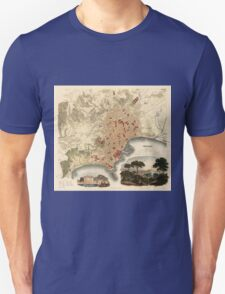 Vintage Map of Naples Italy (1835) T-Shirt