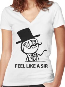Feel Like A Sir (HD) Women's Fitted V-Neck T-Shirt