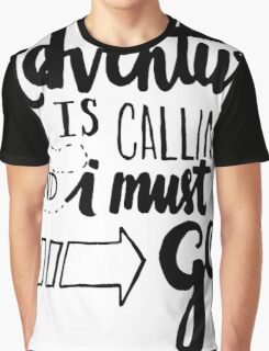 Adventure is Calling - Black Graphic T-Shirt