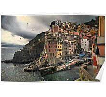 Riomaggiore at sunset Poster