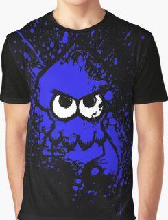 Splatoon Black Squid with Blank Eyes on Blue Splatter Mask Graphic T-Shirt