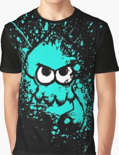 Splatoon Black Squid with Blank Eyes on Cyan Splatter Mask Graphic T-Shirt