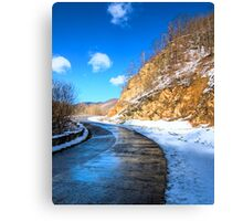 frozen road in the mountains Canvas Print