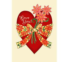 Love You! Valentine Heart with Bow Photographic Print