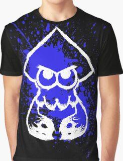 Splatoon White Squid on Blue Splatter Graphic T-Shirt
