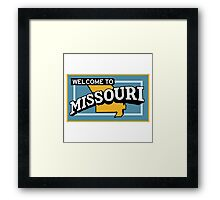 Welcome to Missouri, Vintage Road Sign 50s  Framed Print
